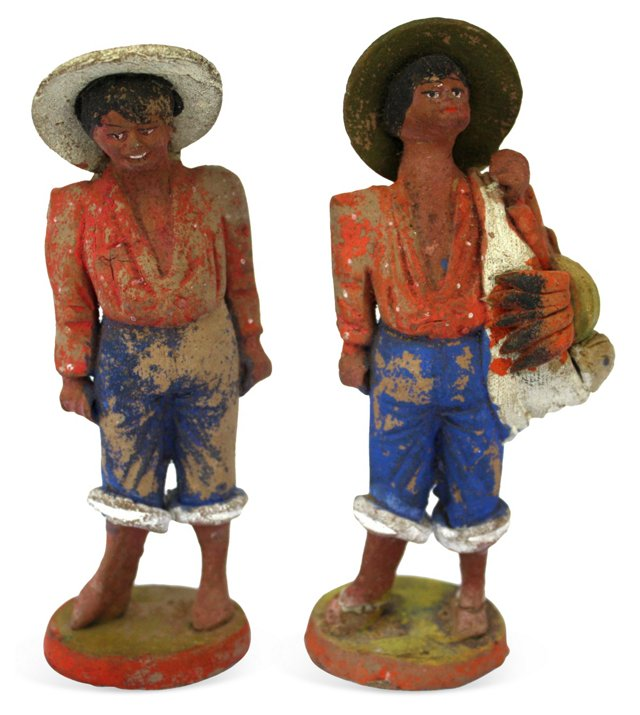 Mexican Folk Art Figures, Pair