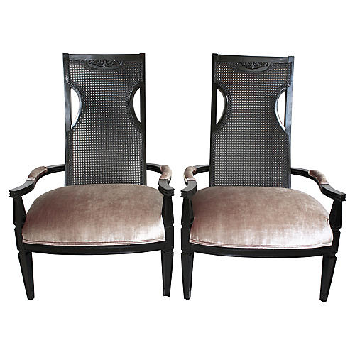 Hollywood Regency Velvet Chairs, Pair