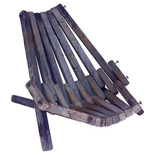 Midcentury Wood-Slat Beach Chair