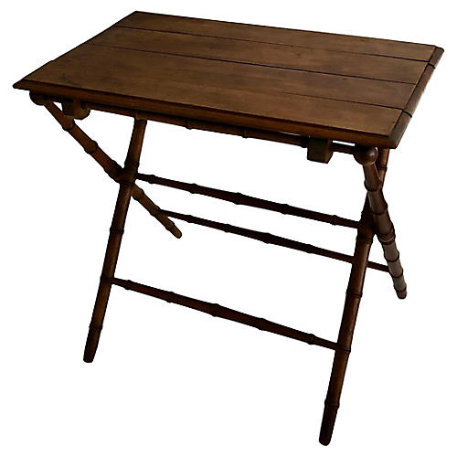 Antique French Faux-Bamboo Folding Table