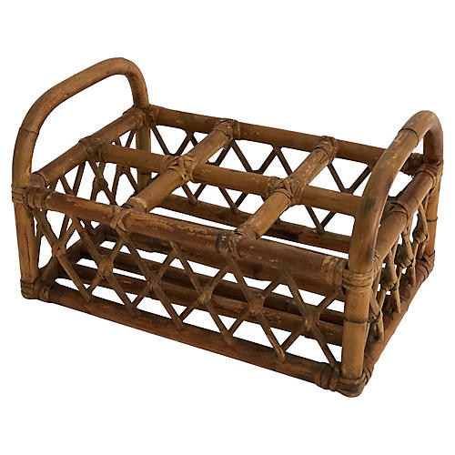 Midcentury Bamboo Wine Carrier