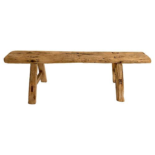 Petite Rustic Elm Low Bench