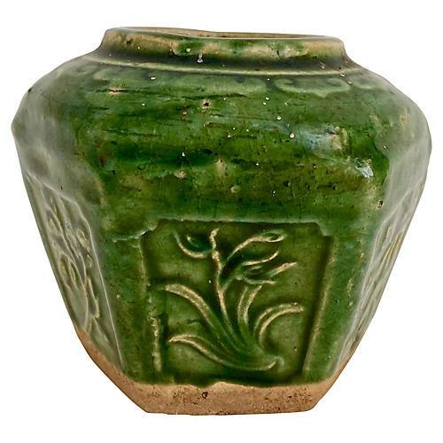 Antique Chinese Green Ginger Jar