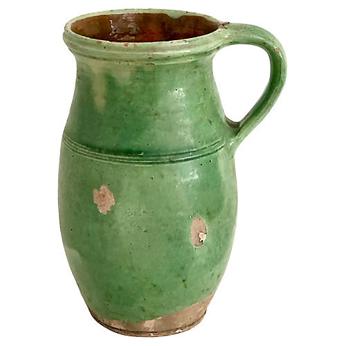 Antique French Country Pottery Water Jug