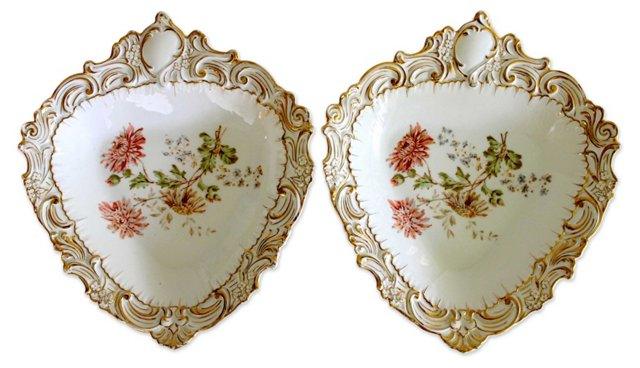 Antique Carl Tielsch Serving Bowls, Pair