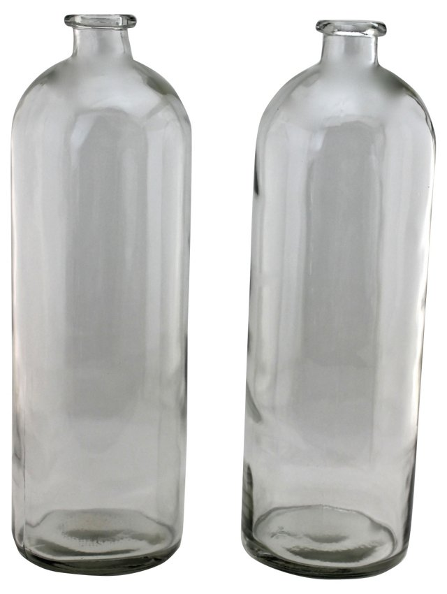French Apothecary Glass Bottles, Pair