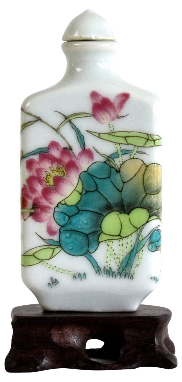 Lotus Porcelain Snuff Bottle w/ Stand