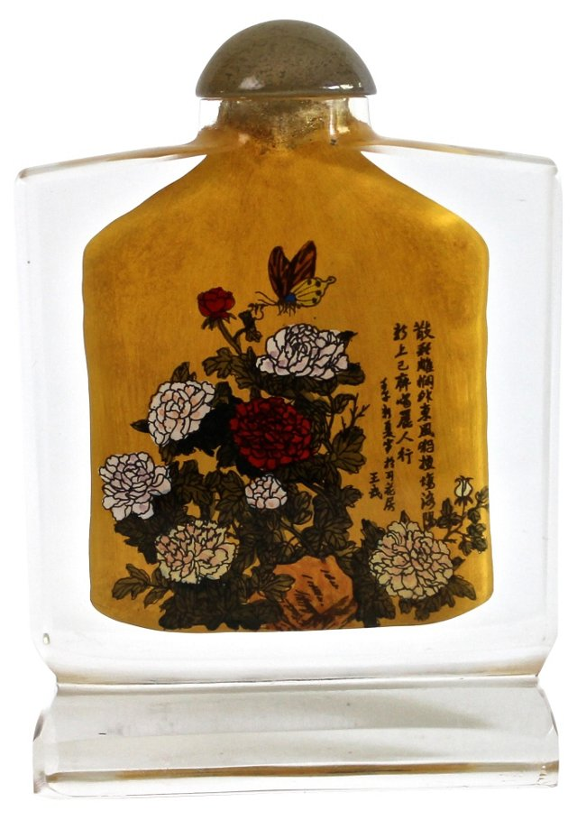 Chinoiserie Peony Snuff Bottle