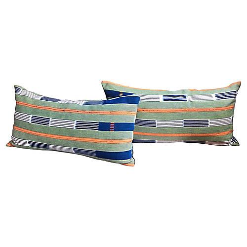 Stripped Mali Mudcloth Pillows, Pair