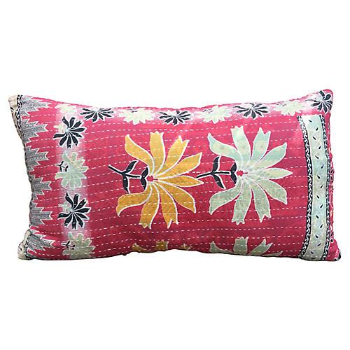 Floral Kantha Lumbar Pillow