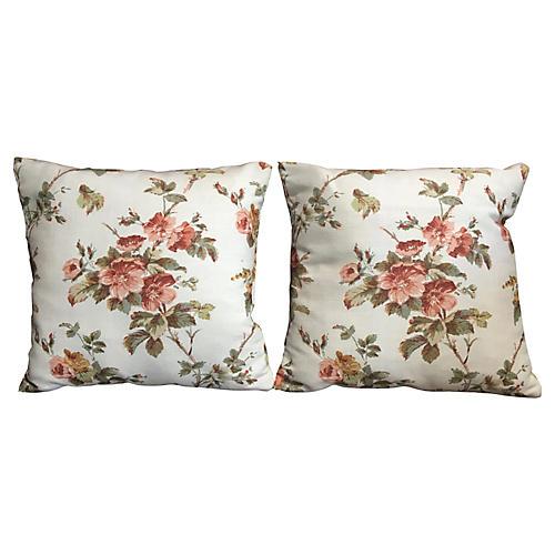 Mini-Bennison Hibiscus Pillows, Pair