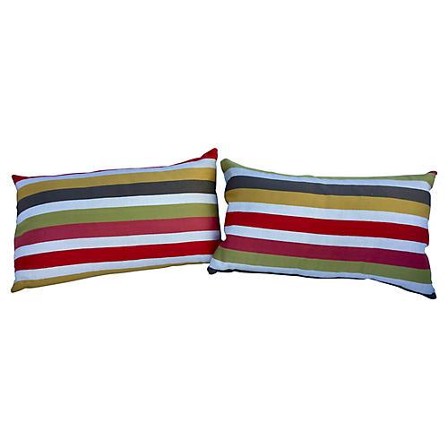 Modern Stripe Lumbars, Pair