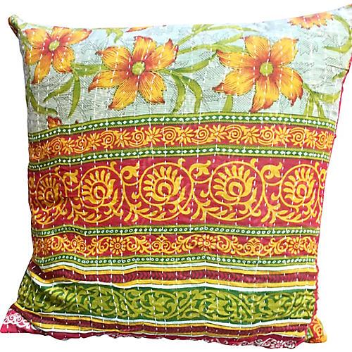Garden Kantha Pillow