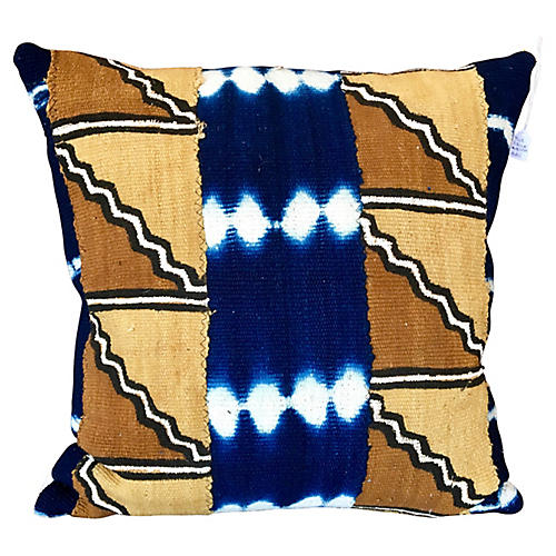 Blue and Brown Mudcloth PIllow