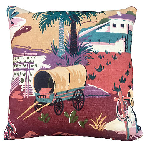 Retro Covered Wagon Pillow