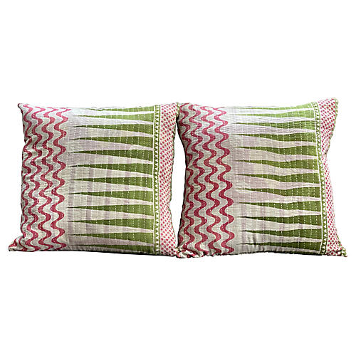 Springtime Kantha Pillows, Pair
