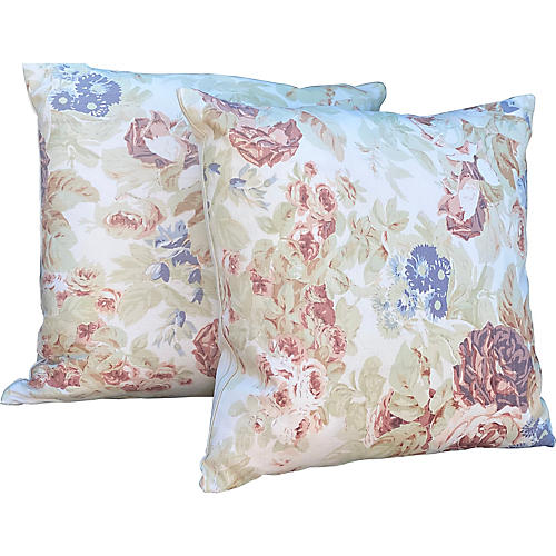"""Bennison """"Faded Floral"""", Pair"""