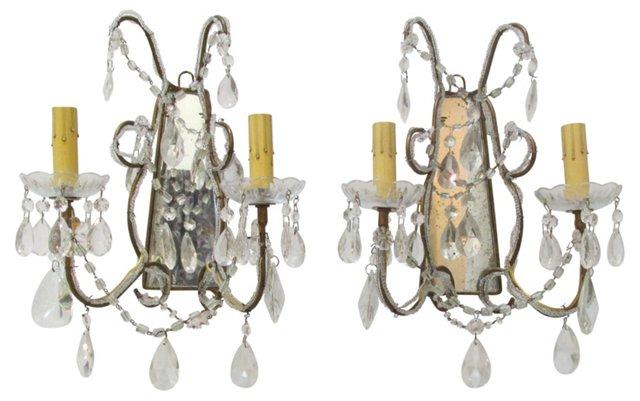 2-Arm Glass & Crystal Sconces, Pair
