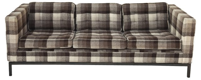 Mid-Century Modern Plaid Wool Sofa