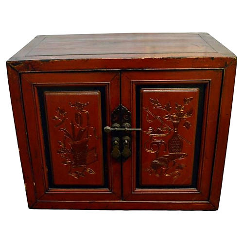 Antique Chinese Red Lacquered Cabinet