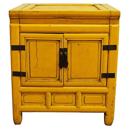 Chinese Yellow Nightstand