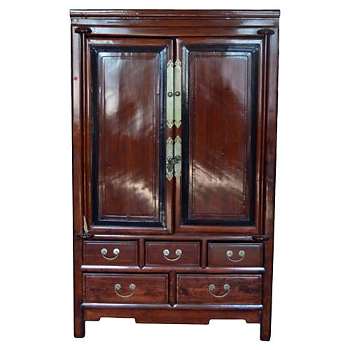 Antique Black Wood & Rosewood Cabinet