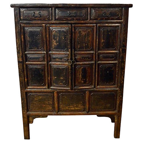 Antique Brown Lacquer Chinese Cabinet