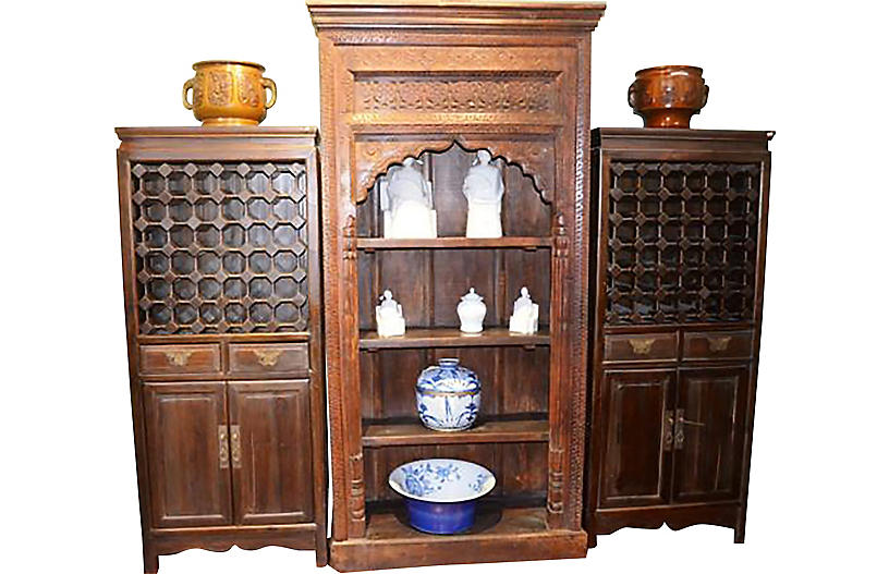 Antique Wine Storage Cabinets, Pair