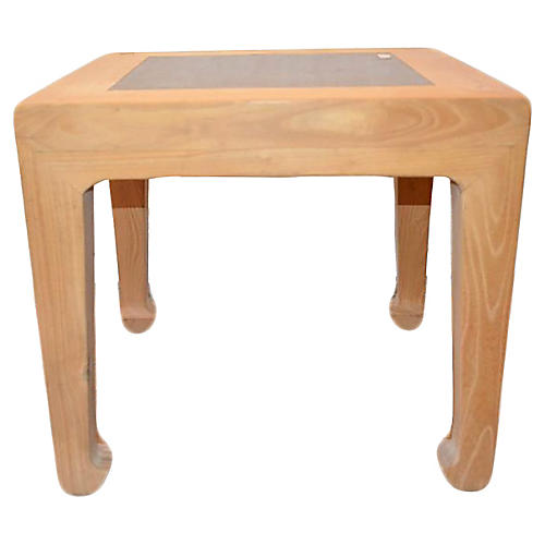Elm Wood Bleached Stone Side Table