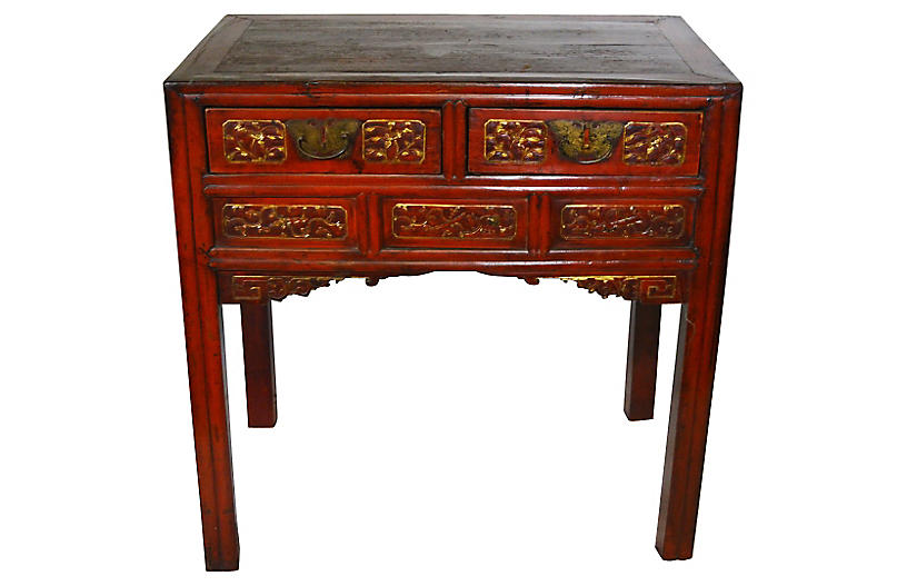 Antique Chinese Hand-Carved Red Desk