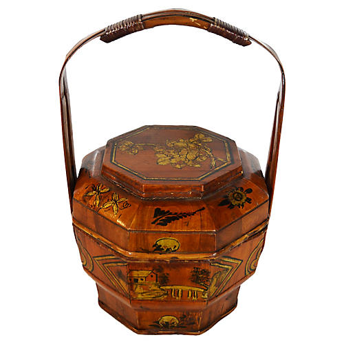 Antique Painted Wedding Basket