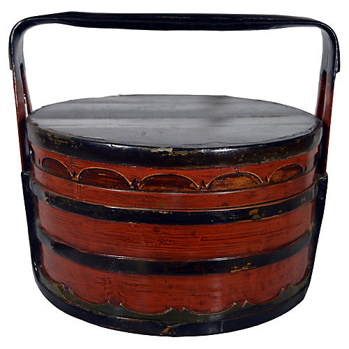 Antique Chinese Tiered Lunch Basket