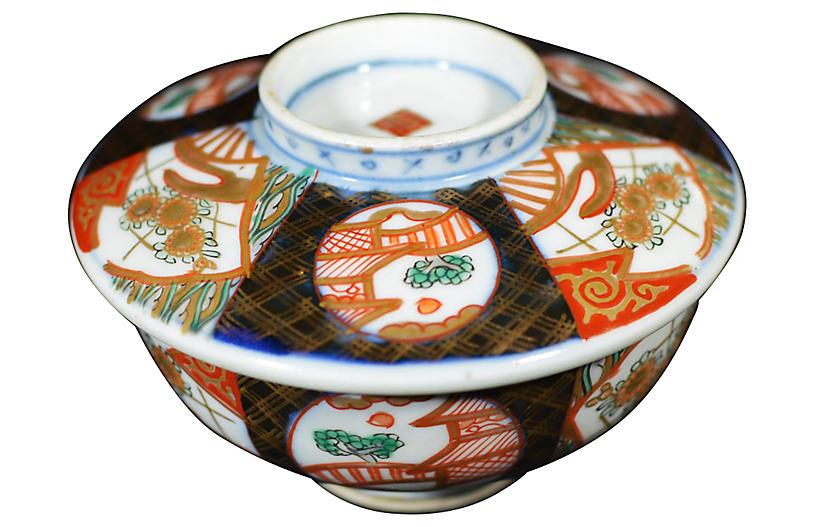 Antique Japanese Imari Bowl w/ Cover