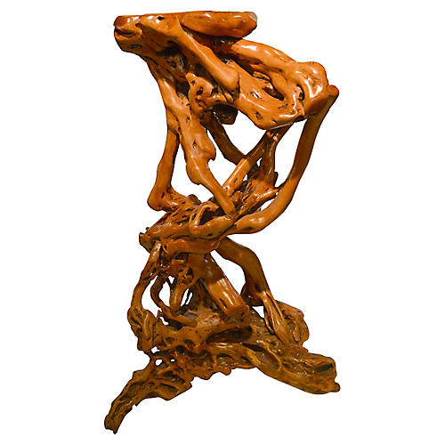Lacquered Natural Root Pedestal