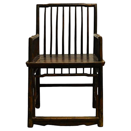 Antique Chinese Handmade Elm Wood Chair