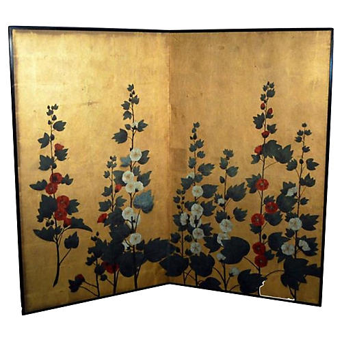 Two-Panel Floral Screen