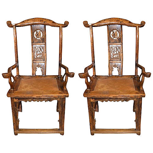 Antique Chinese Yoke-Back Chairs, Pair