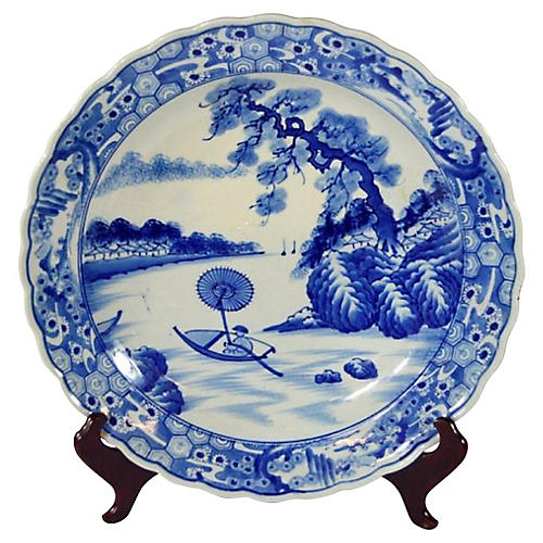Antique Hand-Painted Charger Plate
