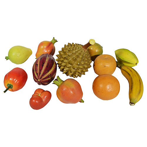 Carved Wood Tropical Fruit, 20 Pcs