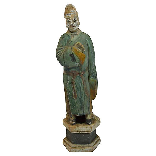 Antique Terracotta Court Figure Statue