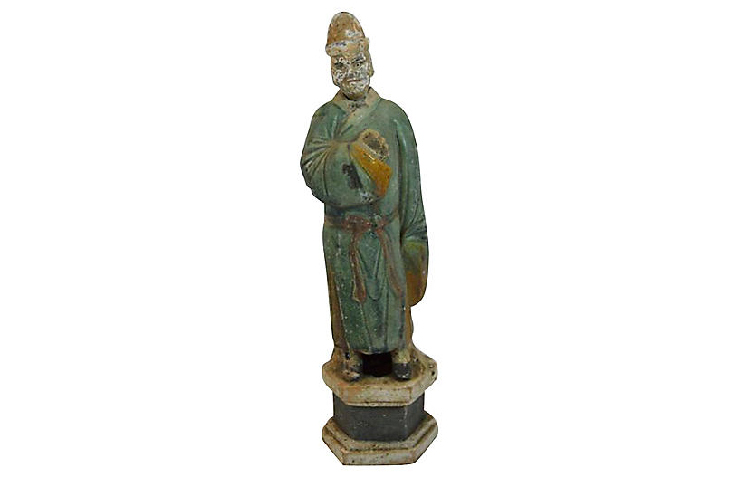 Antique Terracotta Court Figure Statue
