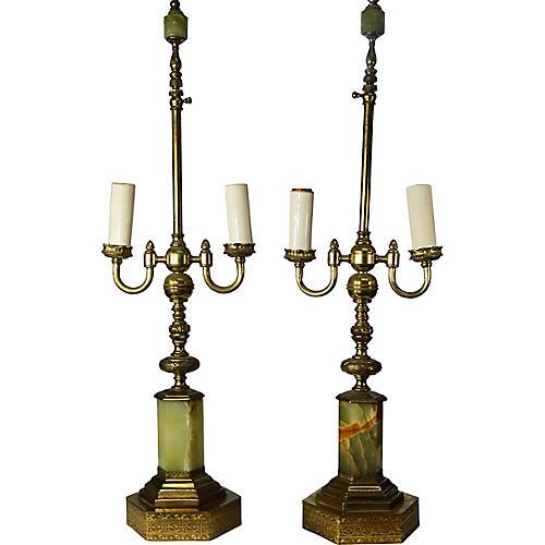 Pair of Metal Lamps w/ Marble Base