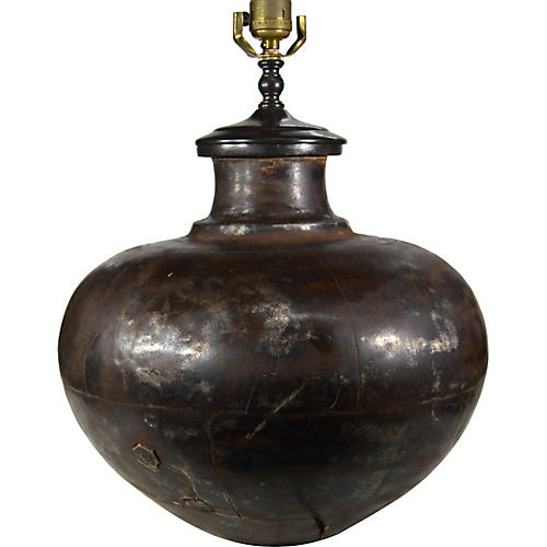 Indian Hand-Hammered Metal Lamp