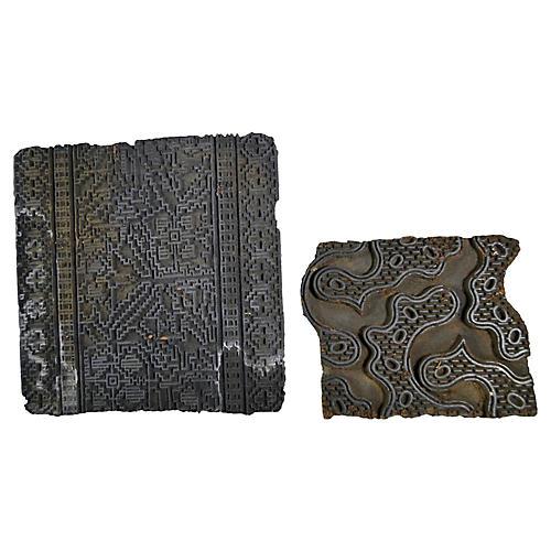 Indian Printing Blocks, 2 Pcs