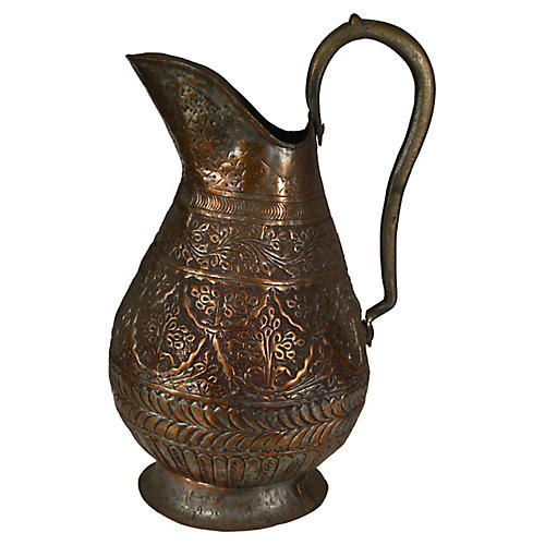 Antique Indian Hand-Hammered Pitcher