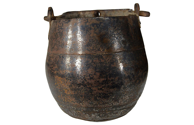 Antique Indian Iron Bucket
