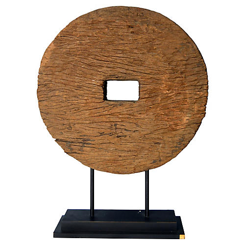 Antique Natural Wood Ox Cart Wheel