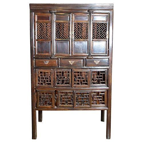 Antique Chinese Fretwork Kitchen Cabinet
