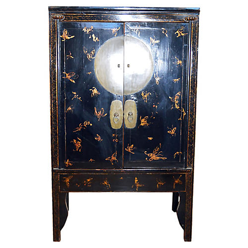 Chinese Black Lacquered Butterfly Chest