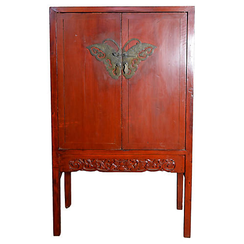 Antique Chinese Red Butterfly Cabinet